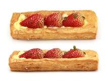 Strawberry cake. On white background royalty free stock photography