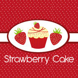 Strawberry cake. Cute strawberry cake over red background. vector Royalty Free Stock Image