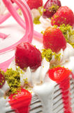 Strawberry cake. Strawberry and whipped cream cake Royalty Free Stock Photos