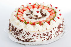 Strawberry cake. Fresh strawberry cake with sliced strawberries and chocolate Stock Images