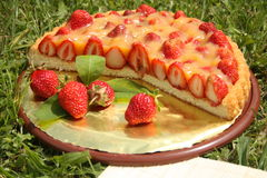 Strawberry cake. Served on the plate Stock Photo