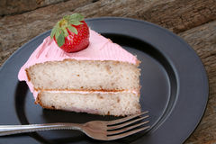 Slice of strawberry cake Stock Image