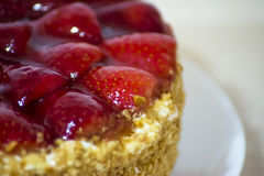Strawberry cake with almonds and cream Stock Photography
