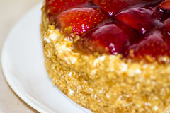 Strawberry cake with almonds and cream Stock Photos
