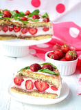 Strawberry cake with banana and chocolate.  Royalty Free Stock Photography