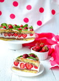 Strawberry cake with banana and chocolate.  Royalty Free Stock Images
