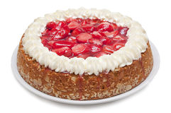 Strawberry Cake. Big strawberry cake pie with cream isolated on white background stock photography