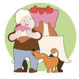 Strawberry cake,  boy and his dog Stock Photo