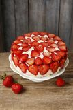 Strawberry cake on cake stand. Party dessert stock image