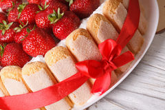 Strawberry cake charlotte with Savoiardi macro. horizontal Royalty Free Stock Photography