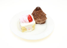 Strawberry cake and chocolate cake Stock Images