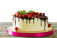 Strawberry cake with chocolate Stock Image