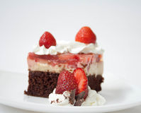 Strawberry cake with chocolate Royalty Free Stock Image