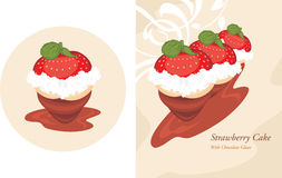 Strawberry cake in a chocolate glaze Royalty Free Stock Image