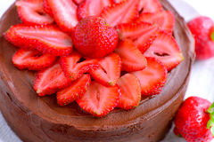Strawberry Cake. Strawberry Chocolate Layer cream Cake Stock Image