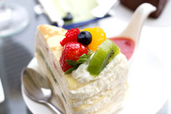 Strawberry cake close up Stock Images