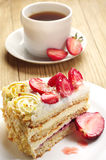 Strawberry cake and coffee Royalty Free Stock Image