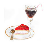 Strawberry cake and cola isolated Royalty Free Stock Images