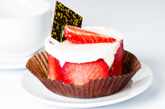 Strawberry cake on cup background Royalty Free Stock Image