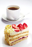 Strawberry cake and cup of coffee Stock Photography