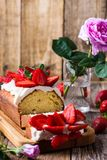 Strawberry cake, holiday fruit dessert stock images