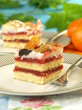 Strawberry cake with dried fruits Stock Photo