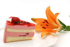 Strawberry cake and flower Stock Image