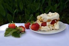 Strawberry cake. Homemade strawberry cake on a white saucer, meringue pie, double meringue cake with strawberries, summer cake stock image