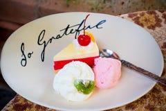 Strawberry cake with ice cream Stock Photo
