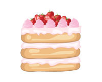Strawberry layer cake with fruit cream fillings and fresh strawberries on a white background Stock Photos