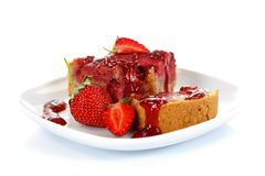 Strawberry cake with jam Royalty Free Stock Photography