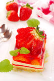 Strawberry cake with jelly Royalty Free Stock Photos
