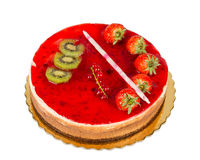 Strawberry cake with jelly topping and figs, isolated Stock Images