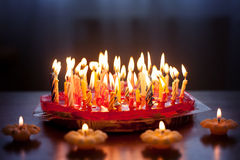 Strawberry cake with lots of candles Stock Photography