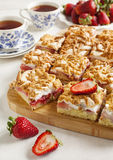 Strawberry cake with meringue Stock Images