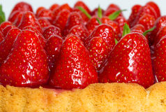 Strawberry cake with mint macro closeup Royalty Free Stock Photography