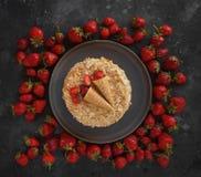 Strawberry cake, Napoleon, Millefeuille, Cream slice cake on dark background, Handmade dessert, Confectionery, Topview, Flatlay. Strawberry cake, Napoleon royalty free stock image