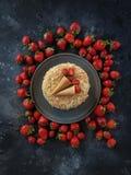 Strawberry cake, Napoleon, Millefeuille, Cream slice cake on dark background, Handmade dessert, Confectionery, Topview, Flatlay. Strawberry cake, Napoleon royalty free stock photography