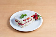 Strawberry cake, pastry, confectionery mille-feuille Royalty Free Stock Photography