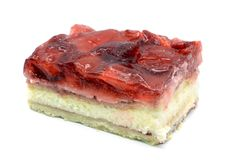Strawberry cake piece with jelly and quark on isolated white bac. Kground Royalty Free Stock Photos