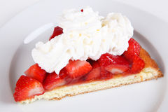 Strawberry cake. On a plate Stock Photography