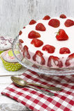 Strawberry cake on red and white table cloth Stock Image