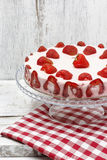 Strawberry cake on red and white table cloth Stock Photography