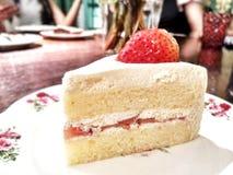Strawberry Cake. In restaurant Stock Image