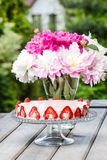 Strawberry cake on rustic wooden table Royalty Free Stock Image