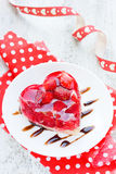 Strawberry cake shaped heart romantic dessert on Valentine Day Stock Photo