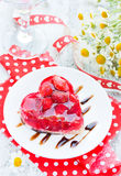 Strawberry cake shaped heart romantic dessert on Valentine Day Royalty Free Stock Photo