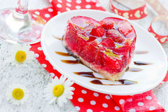 Strawberry cake shaped heart romantic dessert on Valentine Day Stock Photos