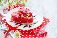 Strawberry cake shaped heart romantic dessert on Valentine Day Royalty Free Stock Photography