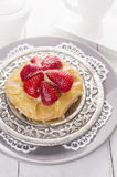 Strawberry cake on silver plate Stock Photo